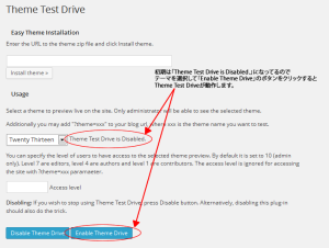 「Theme Test Drive」設定画面